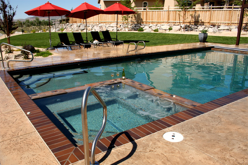 Pools With Hot Tubs Pool With Built-in Spa Pools Hot Tubs - Mathszone.co