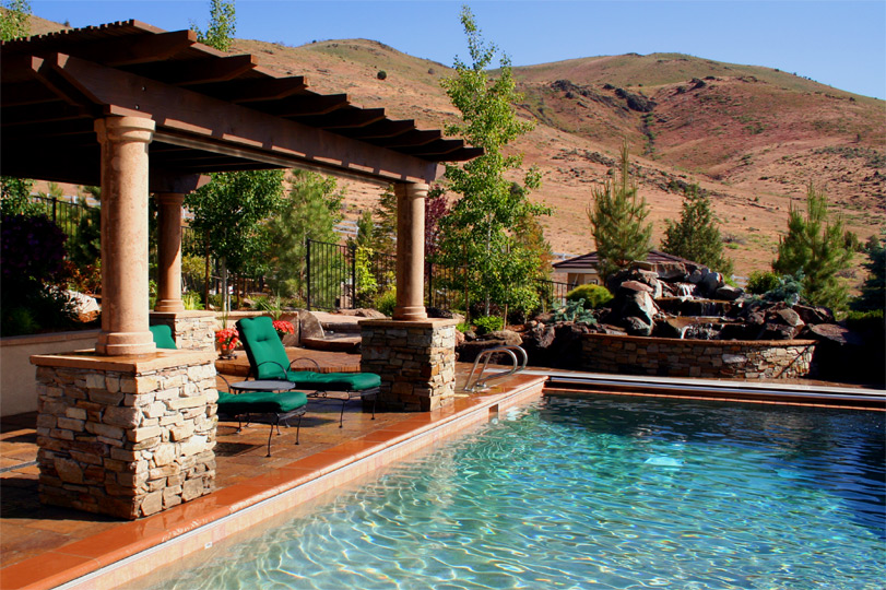 Custom water features fountains in reno robert allen for Custom pool cabanas