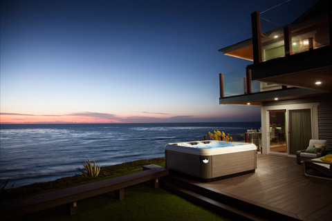 Hot Tub by Bullfrog Spas at sunset